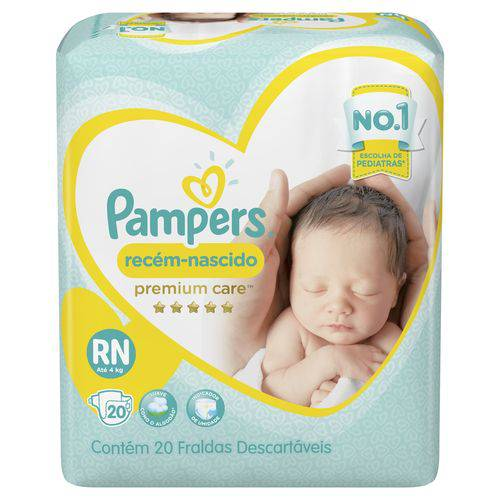 Fralda Pampers Premium Care Recém Nascido com 20 Unidades - Até 4 Kg
