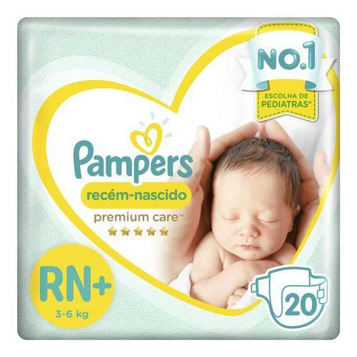 Fralda Pampers Premium Care Recém Nascido Plus com 20 Unidades - 3 à 6Kg