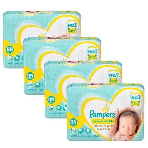 Fralda Pampers Premium Care Recém Nascido Plus com 80 Unidades - 3 à 6Kg