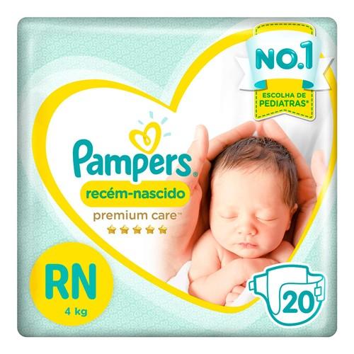 Fralda Pampers Premium Care Recém-Nascido Tamanho RN (Até 4kg) 20 Fraldas Descartáveis