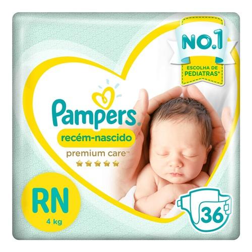 Fralda Pampers Premium Care Recém-Nascido Tamanho RN (Até 4kg) 36 Fraldas Descartáveis