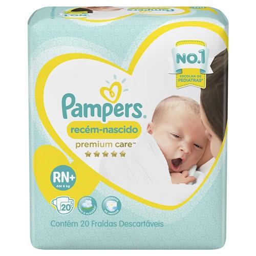 Fralda Pampers Premium Care Recém-Nascido Tamanho RN (até 6kg) Pacote 20 Fraldas Descartáveis
