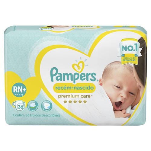 Fralda Pampers Premium Care Recém-Nascido Tamanho RN (até 6kg) Pacote Mega 36 Fraldas Descartáveis