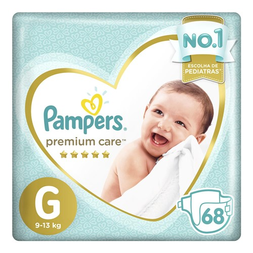 Fralda Pampers Premium Care Tamanho G Pacote Hiper 68 Fraldas Descartáveis
