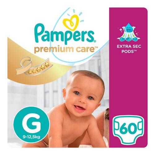 Fralda Pampers Premium Care Tamanho G Pacote Hiper com 60 Fraldas Descartáveis