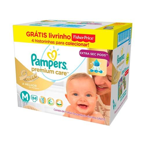 Fralda Pampers Premium Care Tamanho M 84 Fraldas Descartáveis + Grátis Livrinho