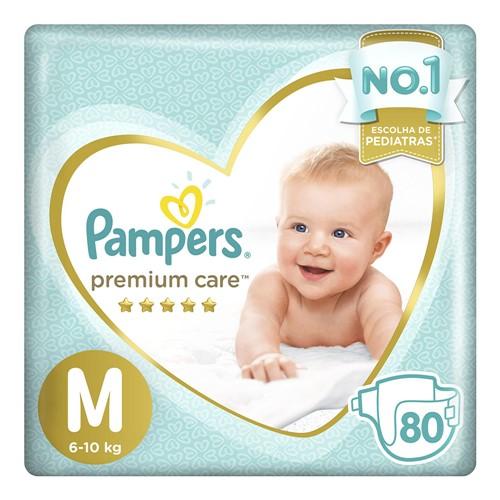 Fralda Pampers Premium Care Tamanho M Pacote Hiper 80 Fraldas Descartáveis
