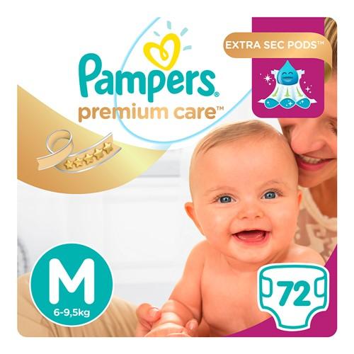 Fralda Pampers Premium Care Tamanho M Pacote Hiper com 72 Fraldas Descartáveis