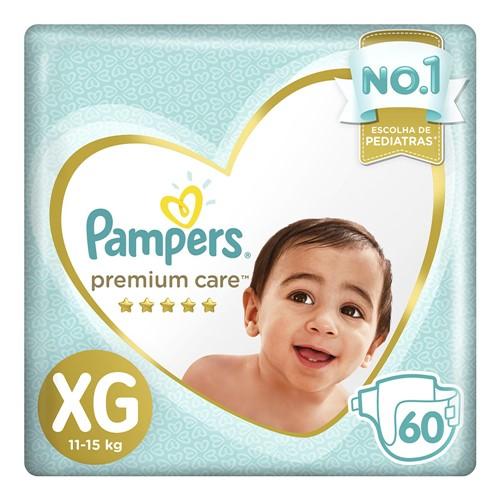 Fralda Pampers Premium Care Tamanho XG Pacote Hiper 60 Fraldas Descartáveis