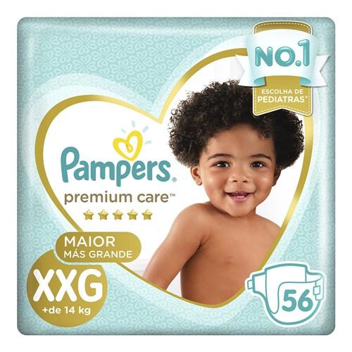Fralda Pampers Premium Care Tamanho XXG Pacote Hiper 56 Fraldas Descartáveis