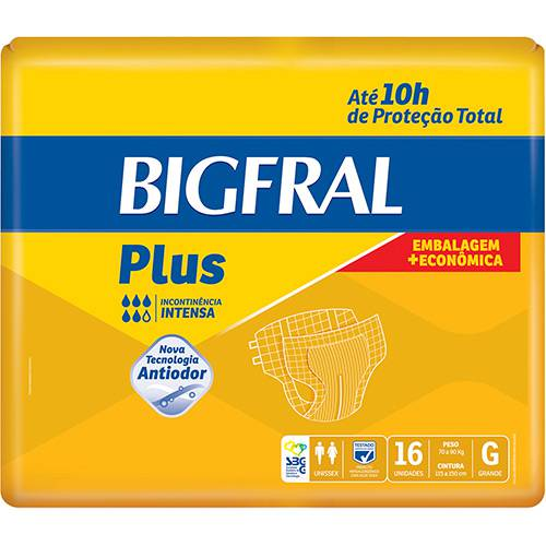 Fraldas Descartáveis Bigfral Plus Incontinência Intensa G - 16 Unidades