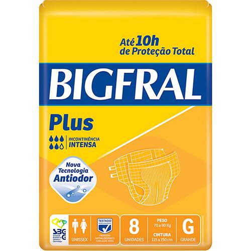 Fraldas Descartáveis Bigfral Plus Incontinência Intensa G - 8 Unidades