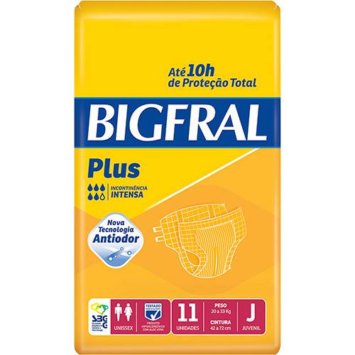 Fraldas Descartáveis Bigfral Plus Incontinência Intensa Juvenil - 11 Unidades