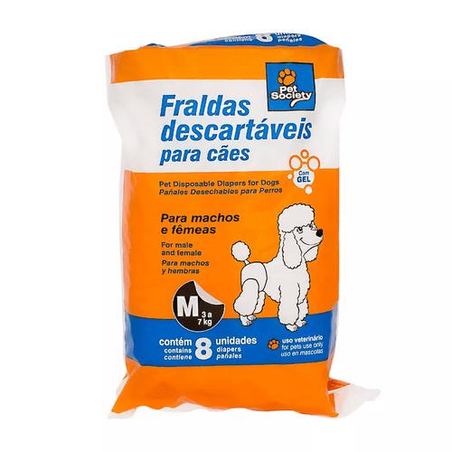 Fraldas Descartáveis Pet Society para Cães - M 8 Unidades