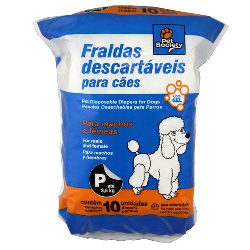 Fraldas Descartáveis Pet Society para Cães - P 10 Unidades