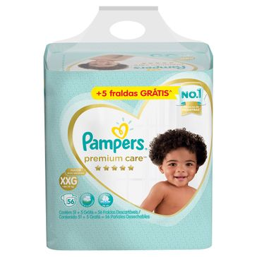 Fraldas Pampers Premium Care XXG 56 Unidades