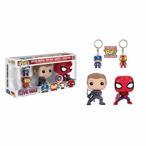 Funko Pop Spider Man & Hawkeye Guerra Civil + 2 Chaveiros