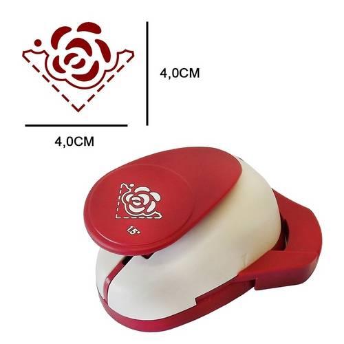 Furador Cantoneira Gigante Coordenado Rosa Especial Fcag07 - Toke e Crie