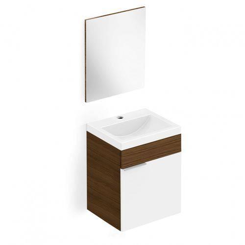 Gabinete para Banheiro com Cuba e Espelheira Avant Incepa Branco/Wengue