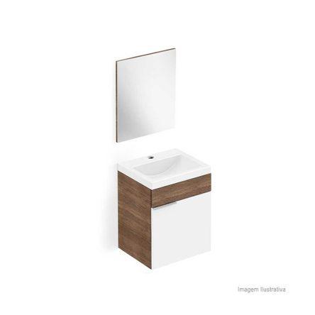 Gabinete para Banheiro Like 54x41cm com Lavatório e Espelho Branco e Wengue Celite