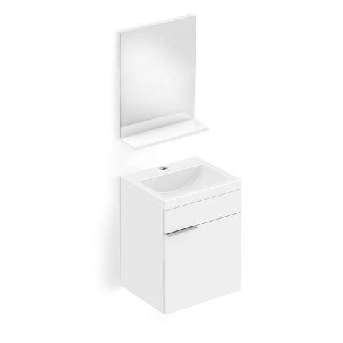 Gabinete para Banheiro Suspenso 1 Porta com Cuba e Espelho Like Celite Branco