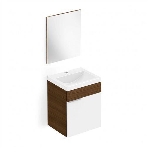 Gabinete para Banheiro Suspenso 1 Porta com Cuba e Espelho Like Celite Wengue/Branco