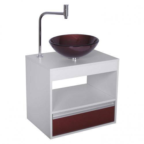 Gabinete para Banheiro Suspenso com Cuba Carajás Astra Branco/Vermelho