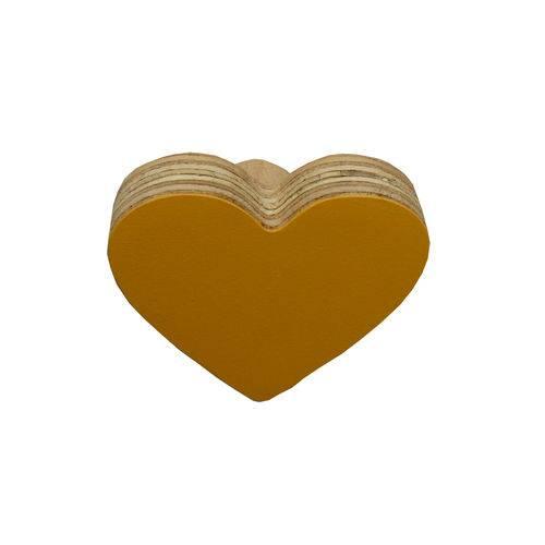 Gancho de Parede Coração Amarelo Ouro