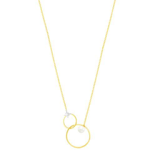 Gargantilha em Ouro 18K com Pérola e Diamante - AU4892 - 50CM