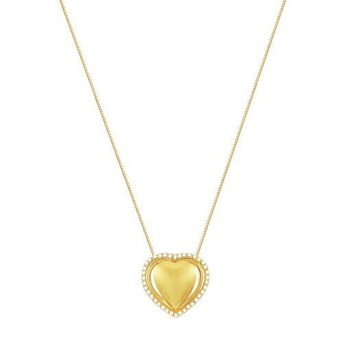 Gargantilha em Ouro 18K Coração com Diamantes - AU1268