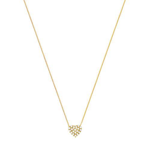 Gargantilha em Ouro 18K Coração com Diamantes - AU2367 - 45CM