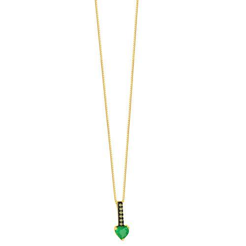 Gargantilha em Ouro 18K Coração Esmeralda e Diamantes - AU5089 - 45CM
