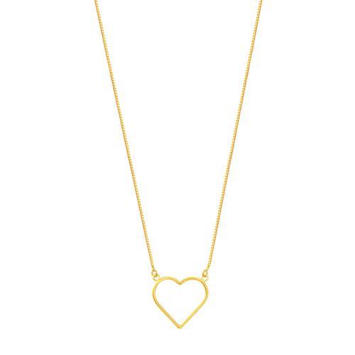 Gargantilha em Ouro 18K Coração Vazado - AU5758