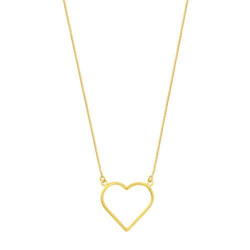 Gargantilha em Ouro 18K Coração Vazado - AU5380