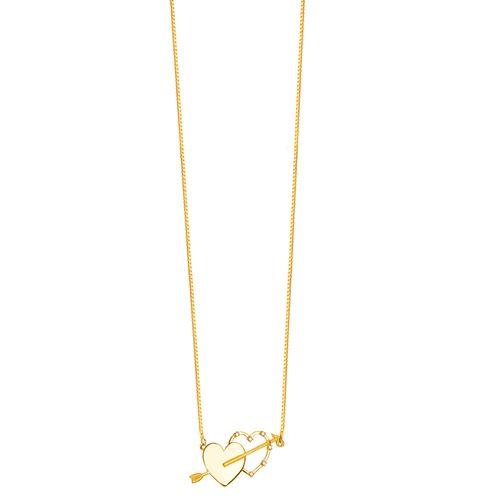 Gargantilha em Ouro 18K Corações com Diamantes - AU4499 - 45CM