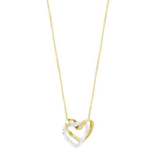 Gargantilha em Ouro 18K Corações com Diamantes - AU2693 - 45CM