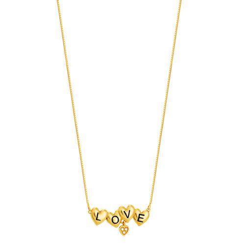 Gargantilha em Ouro 18K Corações e Diamantes - AU4516 - 45CM