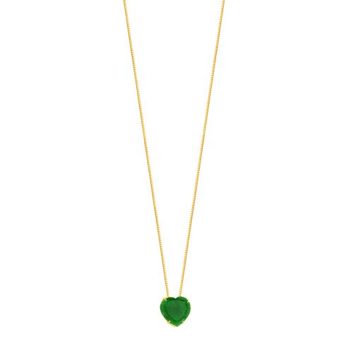 Gargantilha em Ouro 18K Crisoprásio Coração - AU5356 - 45CM