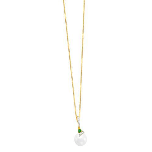 Gargantilha em Ouro 18K Esmeralda, Diamantes e Pérola - AU5092 - 45CM