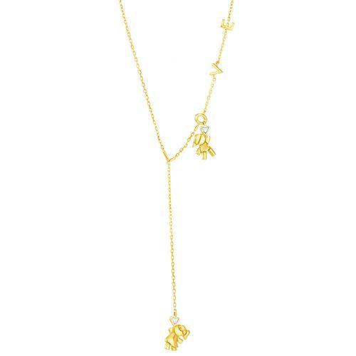 Gargantilha em Ouro 18K Filhas com Diamantes - AU4954 - 55CM