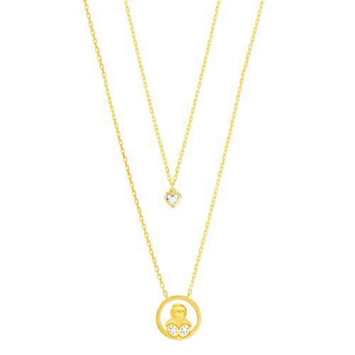Gargantilha em Ouro 18K Filho com Diamante - AU4941 - 45CM