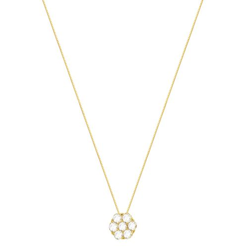 Gargantilha em Ouro 18K Flor com Diamantes - AU4094 - 45CM