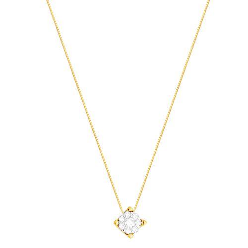 Gargantilha em Ouro 18K Flor com Diamantes - AU4876 - 45CM