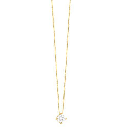 Gargantilha em Ouro 18K Flor com Diamantes - AU4886 - 45CM