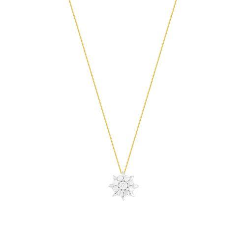 Gargantilha em Ouro 18K Flor com Diamantes - AU5721