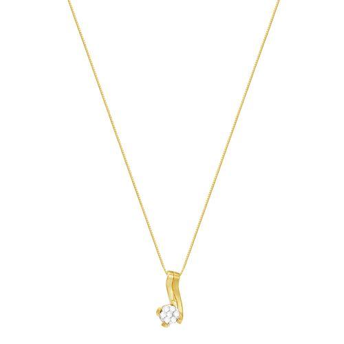 Gargantilha em Ouro 18K Flor com Diamantes - AU2690 - 45CM