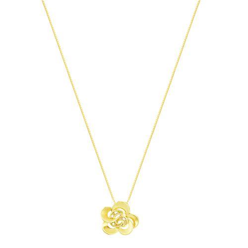 Gargantilha em Ouro 18K Flor com Diamantes - AU2700 - 45CM