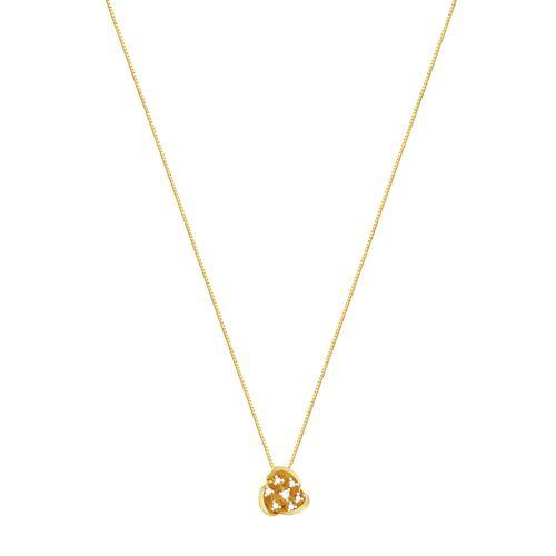 Gargantilha em Ouro 18K Flor com Diamantes - AU2866 - 45CM