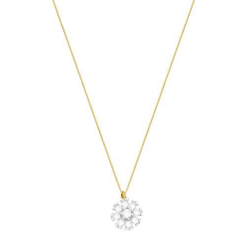 Gargantilha em Ouro 18K Flor com Diamantes - AU2884 - 50CM