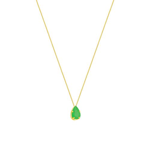Gargantilha em Ouro 18K Gota Jade - AU5858 - 45CM